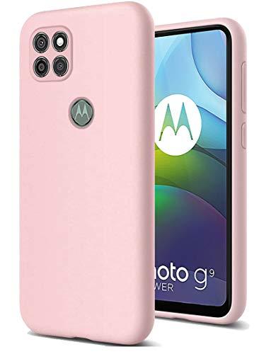 RZANTS Morbido Silicone Liquido Custodia Compatibile con Motorola Moto G9 Power, Custodia Cntiurto Protezione Completa Corpo Case Protezione Anti-Caduta per Moto G9 Power Telefono Cover (Rosa)