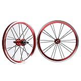 QHY Ruedas BMX 406 Llantas Juego Ruedas Bicicleta 20 Pulgadas Freno Llanta Rueda Delantera Y Trasera Bicicleta Plegable con Piñón 9 Dientes Cubo Cojinete Sellado 1210g (Color : Red, Size : 20')