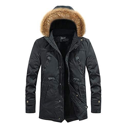 YZY Chaqueta de algodón de plumón para Hombres Ropa de Abrigo Corta con Capucha Gruesa con Cuello de Piel Grande, Abrigo cálido de Invierno para Viajar Senderismo (Color : A,...