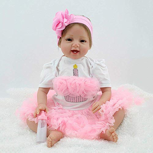 WYZQ Muñecas Reborn, muñecas nutritivas, 22 Pulgadas / 55 cm muñeca bebé de simulación muñeca Renacimiento de Juguete extremidad Silicona Cuerpo de algodón Juguete para niños Regalo muñecas nutritiva