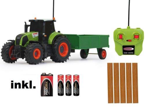 BUSDUGA RC Ferngesteuerter Traktor Claas Axion 850 mit Anhänger 1:28 - RTR - inkl. Batterien
