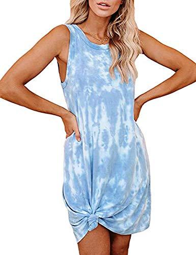 Yinggeli Women's Tie-Dye Print Swimsuit Beach Cover Ups Sleeveless Casual T Shirt Sundress Tank Dress (Small,Light Blue)
