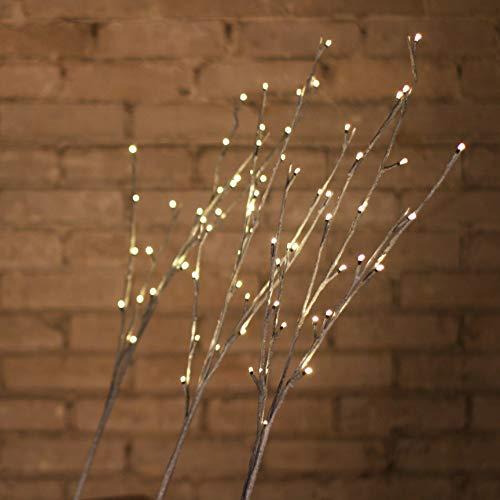Lumineo LED-Lichtzweige | 3-er-Set | Höhe 1m | 72 LED´s | warmweiß | für Innen & Außen geeignet | grau gekalkt