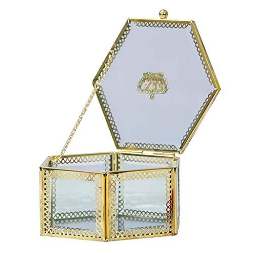 WYJW juwelendoos Europees Retro Goud Kroon Zeshoekige Koper Glas Opbergdoos Parfum Sieraden Doos (Kleur : Helder)