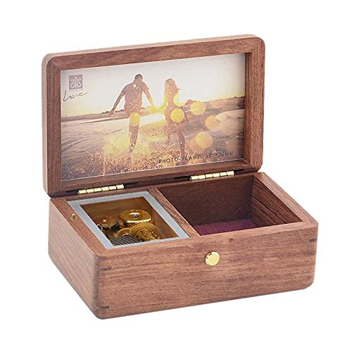 SOFTALK Vintage Square Jewelry Box -Natural Wood Musical Boxs with Customizable Photos Wind Up Decorative Box Keepsake Gift Box Case for Gifts for Christmas,Birthday and Valentine s Day Tone : Can t help falling in love