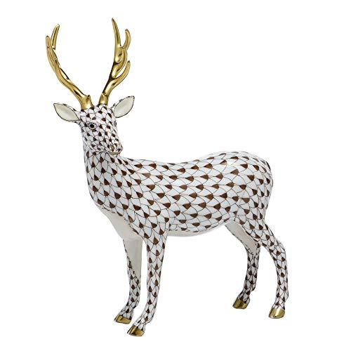 Herend Deer Standing Porcelain Figurine Chocolate Fishnet