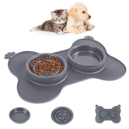 Wuchen Comedero Lento para Perros Gatos, Platos para Mascotas 3-en-1 Uso con Alfombrilla de Silicona Anti-derrame Antideslizante, Bol Tazón Double Cuencos Alimentador para Cachorros Gris S