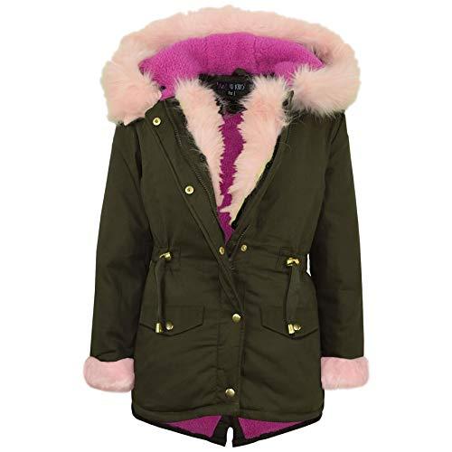 A2Z 4 Kids® Kinder Mädchen Mit Kapuze Jacke Designer Regenbogen Pelz - Jacket JK21 Fur Baby Pink 13