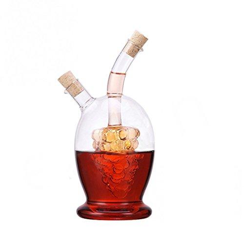 ELETON 16 oz Grape Liner 2-Outlet Glass Oil vinegar 2 in 1 Bottle, Glass Oil and Vinegar Cruet
