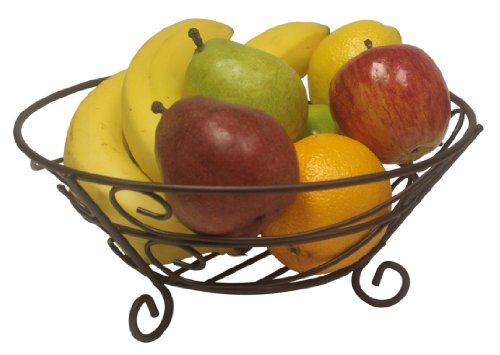 Home Basics Scroll Collection Bronze Coated Steel Fruit Basket, Storage for Fruits and Vegetables,...