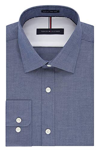 Tommy Hilfiger Men's Dress Shirt Slim Fit Non Iron Solid, Night Blue, 18' Neck 34'-35' Sleeve