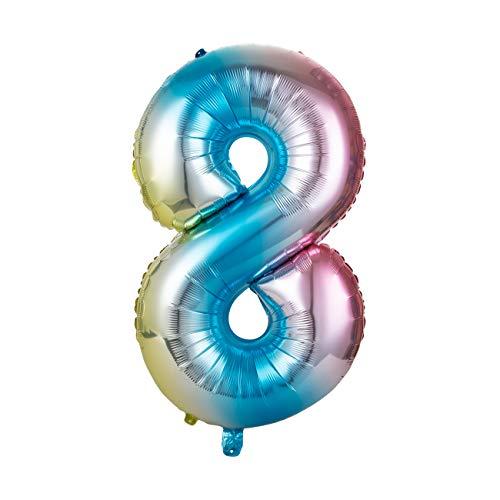 GWHOLE Globos Número 8, Globo Multicolor Mezclado de Azul Amarillo Rosa Globo Grande de Aluminio 1 2 3 4 5 6 7 8 9, Globos para Fiestas de Cumpleaños, Aniversario