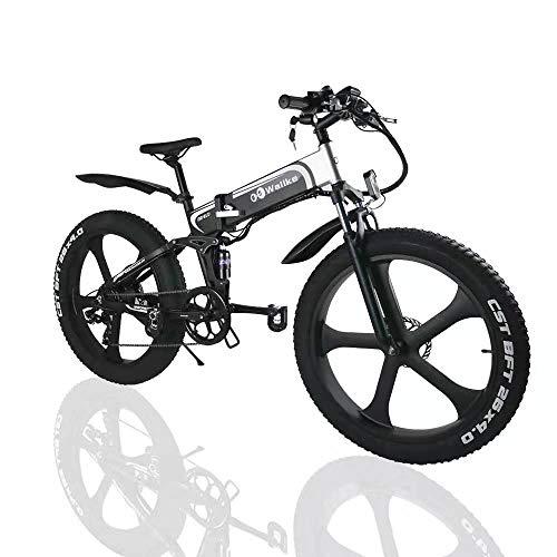 W Wallke Folding Aluminum Electric Bike 48V 10.4ah Removable Battery Fat Tire Snow Mountain Bike...