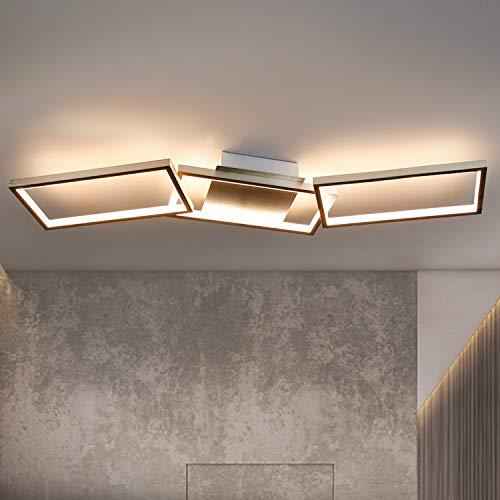 GBLY Moderne Deckenleuchte LED 3 Flammig Büro Deckenlampe 3000K Warmweiß Wohnzimmerlmape 89cm Eckige Geometrisch Deckenbeleuchtung für Wohnzimmer Schalfzimmer Flur Büro Arbeitszimmer