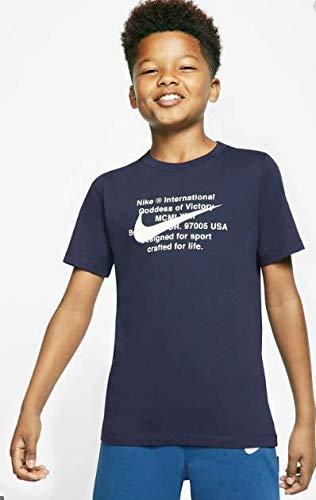 Nike B NSW Tee Swoosh for Life T-Shirt, Obsidian/White, XL garçons
