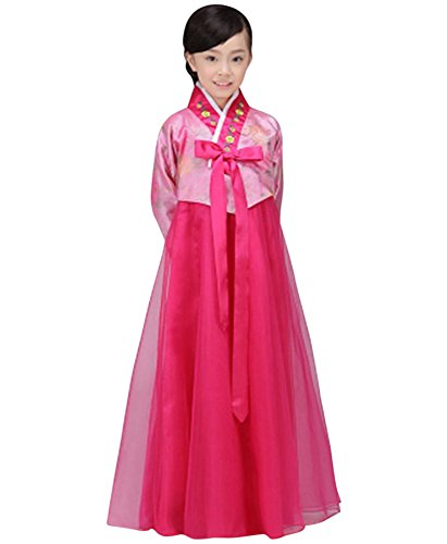 CRB Fashion Girls Traditional Kids Korean Hanbok Outfit Dress Costume (130cm, Reddish Pink/Dark Pink)