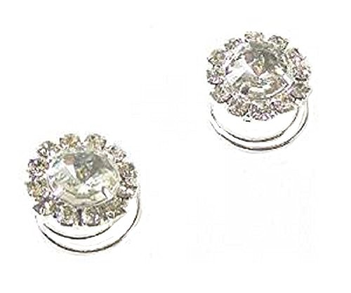 fashionjewellery4u 2Silver Crystal Diamante Rotondo Hair Twists Swirls perni spirali da Sposa, Damigella d' Onore Accessori–1.4cm Diametro