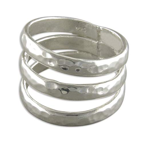 Sterling Silver Ring Triple beaten band