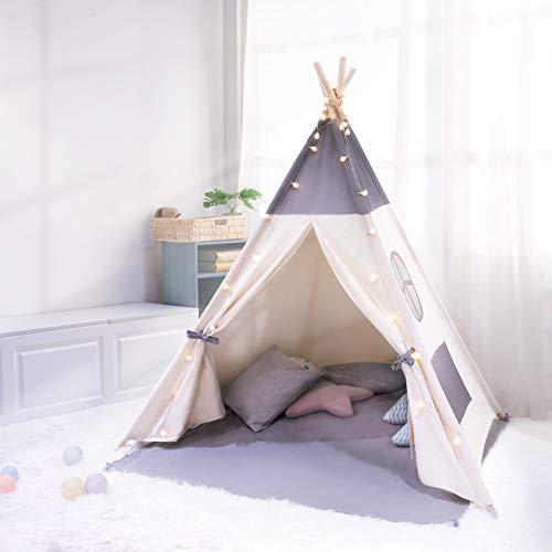 besrey Tente Enfant Intérieur Tente Chambre Tipi Tente Enfant Pliable avec Guirlande Lumineuse 6M...