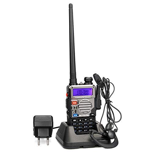 Retevis RT5RV Walkie Talkie Profesional Doble Banda 128 Canales Alcance de hasta 5 km Radio Aficionado DTMF VOX FM Radio con Auricular (1 Pack)