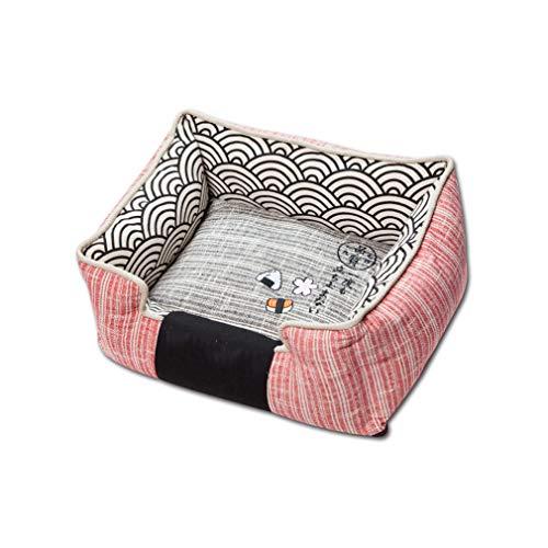 GFQ Haustierbett, Haustierkatzen-Hund, die weichen Schlafenbett-Matten-Zwinger wärmen, einfach zu säubern Waschbar für mittelgroßen Hundewelpen 65 * 55 * 25cm-red