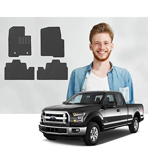 Road Comforts Custom Fit Ford F150 2010 2011 2012 2013 2014 SuperCab Car Floor Mats - Digitally Laser Measured & Made with TPE Heavy Duty Material - Front and Second Row (4pcs) (Black) (No Subwoofer)