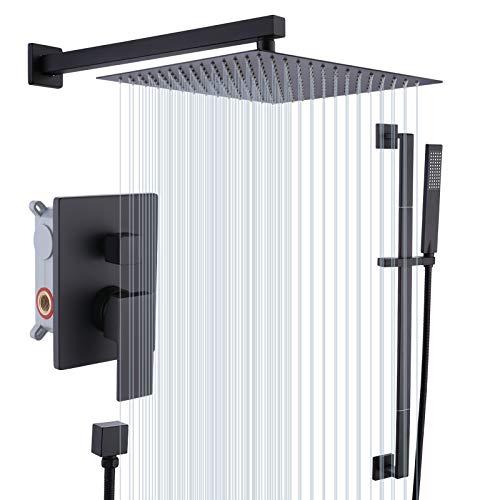 KES Shower Faucets Sets Complete 12-Inch Rain Shower Head with Handheld Spray Shower Slide Bar Including Rough-in Valve and Trim Kit Matte Black, XB6250S12-BK