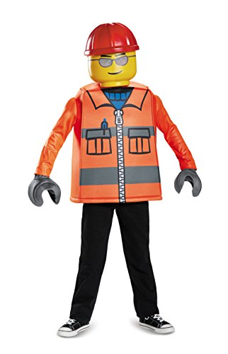 Disguise Lego Construction Worker Classic Costume, Orange, Medium (7-8)