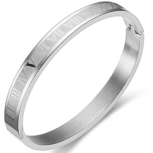 10mm Stainless Steel Roman Numbers Pattern Open Clasp Classic Plain Bangle Bracelet (Silver)