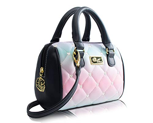 """This beautiful Mini Barrel Bag Measures; 7"""" Width X 6"""" Height X 3.5"""" Depth, 100% PVC Top zipper closure, Top Dual Rolled Handles 3"""" drop, Gold tone hardware Removable cross-body Shoulder strap with 25"""" drop, Luv Betsey Johnson Logo Plate Heart quilte..."""