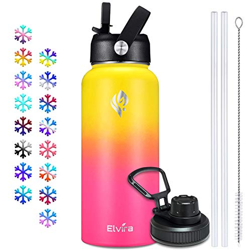 Elvira 32oz Vacuum Insulated Stainless Steel Water Bottle with Straw & Spout Lids, Double Wall Sweat-proof BPA Free to Keep Beverages Cold For 24 Hrs or Hot For 12 Hrs-Yellow/Red