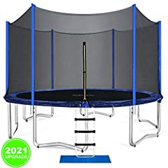 【New Upgraded Trampoline】The 2021 New upgraded ORCC trampoline is the best gift for kids. New technology gives the trampoline better safety and longer life. Hot-dip galvanizing process makes trampoline frame and net pole last for decades. 【Safe Tramp...