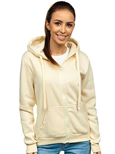 BOLF Damen Kapuzenpullover Hoodie Sweatshirt mit Kapuze Kapuzenjacke mit Reißverschluss Outdoor Fitness Training Jogging Sport Style J.Style W03 Ecru S [A1A]