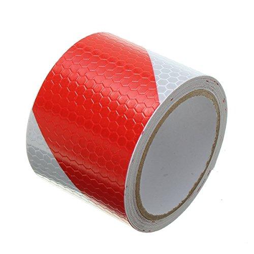 Tuqiang®, nastro autoadesivo di sicurezza riflettente bianco e rosso, 3m x 5cm