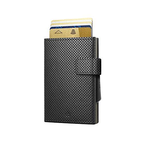 Ögon Smart Wallets - Cascade Wallet Cierre con presión - Cartera automática de Aluminio y Piel - Tarjetero RFID antirrobo - 8 Tarjetas y Billetes - Cuero Trafforato Black/Aluminio Titanium