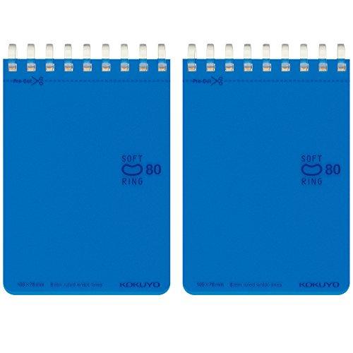 コクヨ メモ帳 ソフトリング ドット入りB罫 A7 80枚 2冊 青 メ-SV378BT-BX2