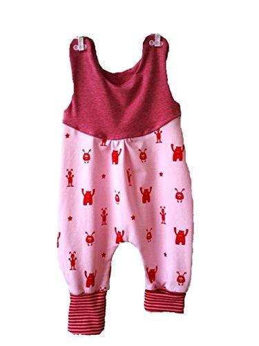 Atelier MiaMia - Mitwachs Strampler einzeln oder als Set Baby Kind von 50, 56, 62, 68, 74, 80, Designer Strampler Limitiert !! rosa, rote Monster (62)