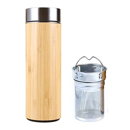 SLOSH Botella Termica Té Acero Inoxidable Infusor Taza Viaje Café Té Bambú Travel Mug Thermos Agua Filtro Infusione Sin Bpa Termo Teteraté Embolo Oficina