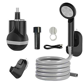 Douche d'extérieur portable - Pompe de douche de camping - Douche électrique rechargeable USB C - IPX8 - Tête Shoewr en acier inoxydable - Pour le camping, la randonnée