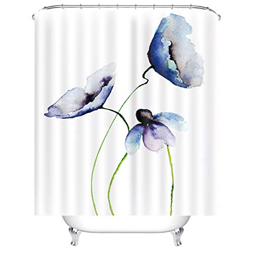 Gnzoe Hotel Quality Fabric Shower Curtain, Polyester Flower Painting Shower Curtain for Bathroom Purple White 72x72 inch