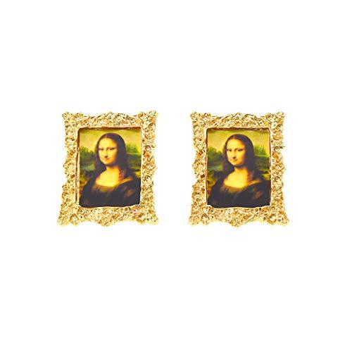 AERVEAL Pendientes de Moda, Davinci Mona Lisa Pintura al óleo Arte Retrato Marco Pendientes de Tuerca joyería de Moda-B #