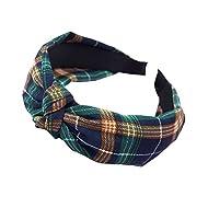 CHCOON Women's Plaid Headband Fabric Hair Accessories Simple Knitted Headband