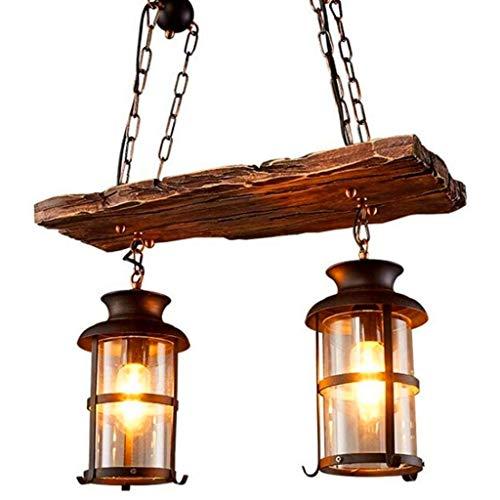 Lámpara Colgante De Metal Industrial Vintage Lámpara De Madera Vintage 2 Cabeza...