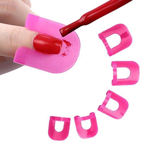 Gemini _ Mall® 26 pcs Vernis à Ongles Colle Modèle anti-déversement Manucure outils de protection réutilisable Vernis à ongles Vernis à ongles facile Pochoir