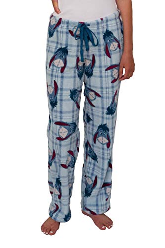 Disney Women's Ultra-Soft Character Plush Drawstring Pajama Pant (Eeyore, Large)