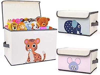 DIMJ Juego de 3 Cajas de Almacenaje Juguetes Plegable, Caja Organizadora de Juguetes con Tapa y Asa, Caja de Tela para Niños (Gris)