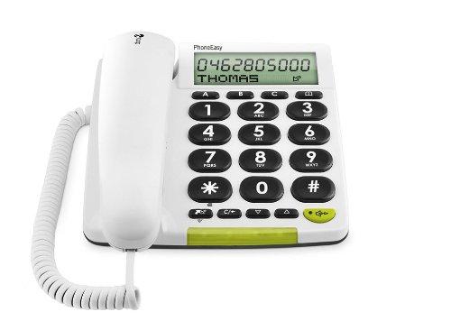 Doro Phone Easy 312Cs - Teléfono (Teléfono analógico, Altavoz, 30 entradas, Identificador de Llamadas, Blanco)