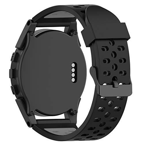 Disscool Correas de repuesto de doble color para reloj GPS Bushnell Neo Ion 1 2 Golf GPS, Excel Golf GPS Watch (silicona negra + gris)