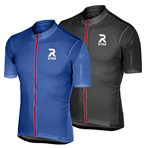 R Star Pro Short Sleeve Cycling Jersey Bicycle Cycling Clothes MTB Road Bike Riding Shirt Mountain Bike Cycling Jersey (XS,Black)