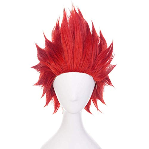 Topcosplay Unisex Anime Cosplay Wig Short Red Costume Wigs Synthetic Fiber Halloween Wig